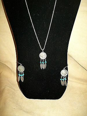 Vtg Indian Head Buffalo Nickel Turquoise Sterling Silver Necklace Earrings Set
