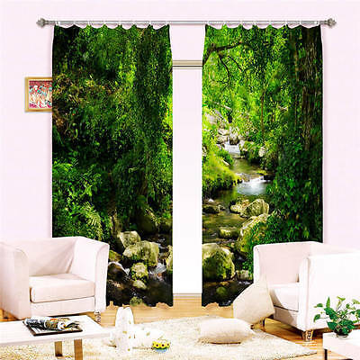Creek Stone Forest 3D Curtain Blockout Photo Curtains Print Home Window Decor