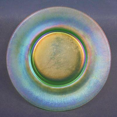 "STRETCH GLASS - Florentine Green 9"" Diameter PLATE with a 5"" Factory-ground Base"