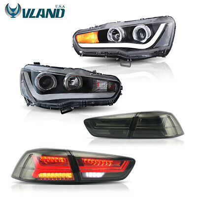 Smoked LED Tail Lights & LED Headlights For Mitsubishi Lancer / EVO X Angel Eyes