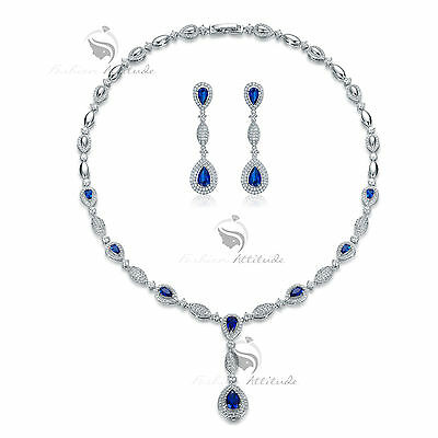 18k white gold made with SWAROVSKI crystal earrings necklace party wedding set