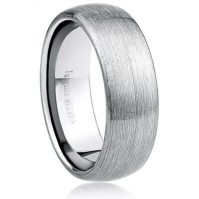 Men's 8mm Wide Tungsten Carbide Band Comfort Fit Ring Round Satin - TCR054