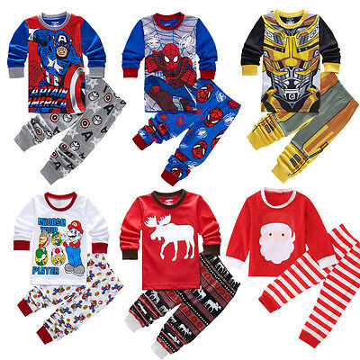 2PCS Kids Baby Boy Girl Cartoon Nightwear Pajamas Sleepwear Outfits Clothes Set