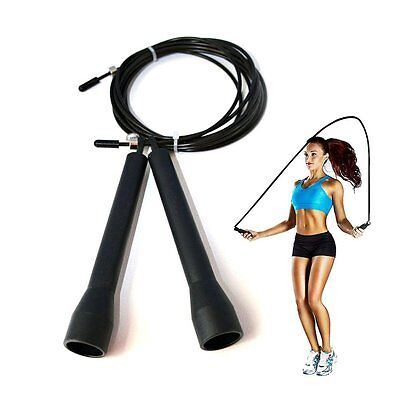 Fitness Adjustable Speed Training Jumping Skipping Rope Gym Steel Cable Black