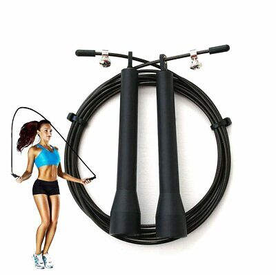 Pro Skipping Speed Rope Adjustable Weighted GYM Fitness Workout Jumping Black