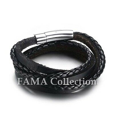 Trendy FAMA Black Braided Leather Wrap Bracelet with Stainless Steel Closure NEW