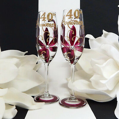 40th Anniversary Wine or Champagne Glasses Ruby Anniversary Gifts and Mementos