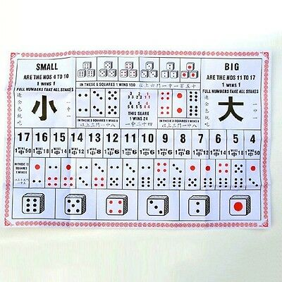Sic Bo Big Small Paper Game Casino Chinese Traditional Gambling Set With 3 Dices