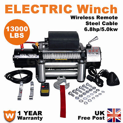 13000LBS 12V Electric Winch Heavy Duty Recovery Wireless Remote Control 4WD ATV