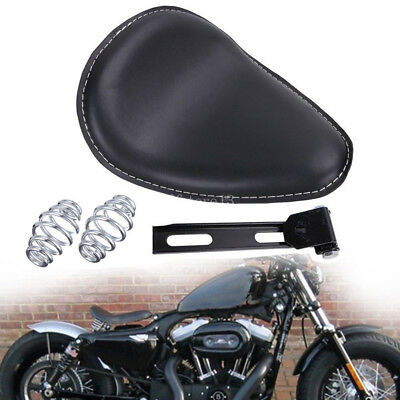 "Leather Motorcycle Sportster Chopper Bobber Custom 3""  SOLO Spring Bracket Seat"