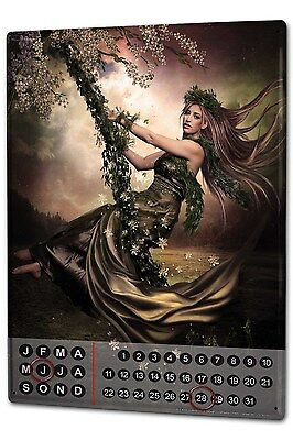 Perpetual Calendar Gothic Tree fairy Tin Metal MagneticDream World Vintage