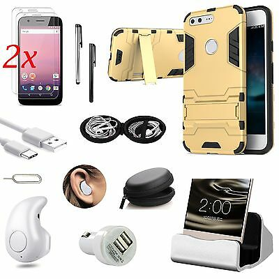 Gold Kickstand Case Cover Charger Earphones Accessory Pack For Google Pixel XL