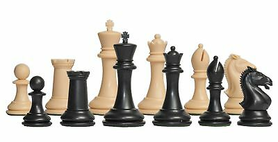 """USCF Sales The Hastings Plastic Chess Set - Pieces Only - 3.875"""" King - Black &"""