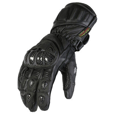New Mens Black Leather Motorbike Protective Racing Gloves Sizes S-2XL