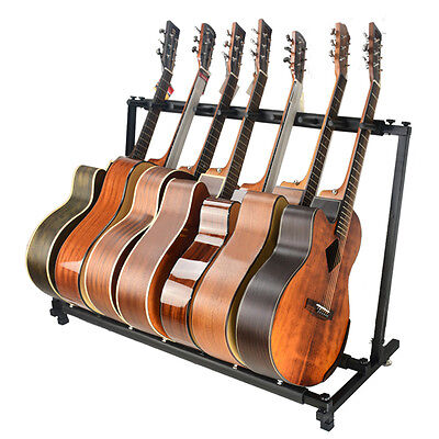 7 Way Multi Guitar Rack Padded Holder Stand Electric Acoustic Bass Black