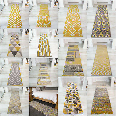 NEW Ochre Mustard Yellow Gold Golden Cream Long Thin Hallway Hall Runner Rug Mat