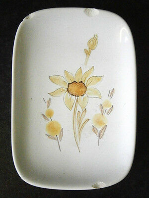 Vintage Australian Pottery Studio Anna Hand Painted Flannel Flower Pin Dish