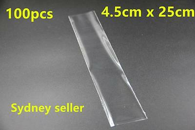 100pcs Plastic Clear Bags Flat Open Top Retail Display 4.5x25cm Packaging Sydney