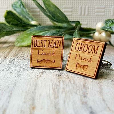 Personalised Timber Wedding Cuff Links for Grooms Party