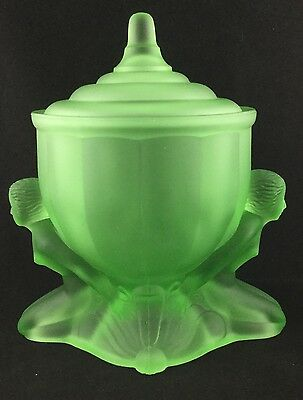 Walther Sohne? Green Depression Uranium Glass Nude Lady Maidens Comport Art Deco