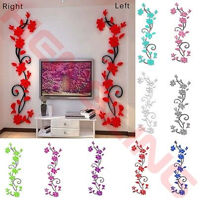 New 3D Flower DIY Wall Sticker Removable Vinyl Quote Decal Mural Home Room Decor
