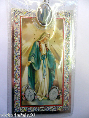 Prayer card and medal in plastic wallet. Our Lady Miraculous Medal