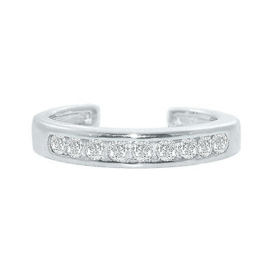 .925 Sterling Silver Channel-Set White CZ Toe Ring.