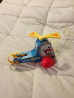 Vintage 1970 Fisher Price Wood Wooden Mini Copter Pull Toy Helicopter
