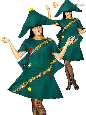 Ladies Christmas Tree Fancy Dress Costume Xmas Party Outfit Adults Novelty