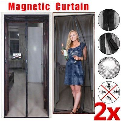2X Mesh Insect Fly Bug Mosquito Door Curtain Net Netting Mesh Screen Magnets I5#