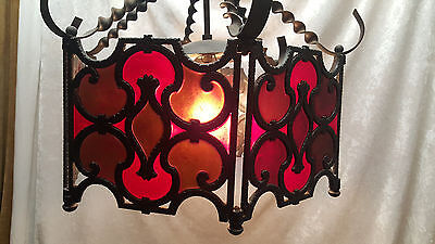 "Gothic Mid Century Chandelier ""Moe Lite"" hand wrought iron  and lucite panels"