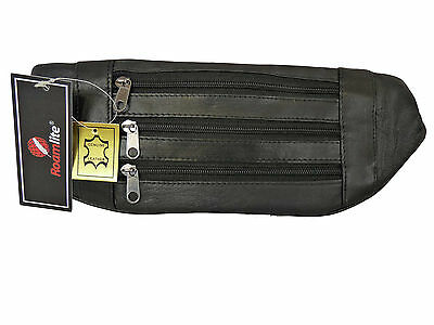 Real Leather Flat Bum Waist Bag Money Belt Bumbag Pouch Travel Holiday