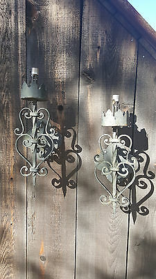 Hand forged-Spanish Revival-Iron sconces Pair-Beautiful detail-solid