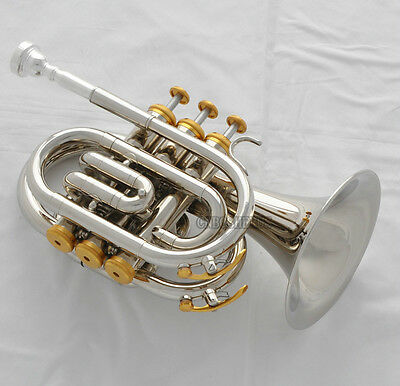 High grade Silver Nickel Plated Pocket Trumpet B-flat Horn Large bell New Case