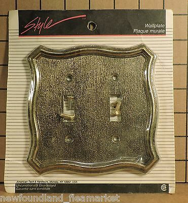 Vintage UNUSED Ornate Metal Double Switch Face Plate Cover HD#40