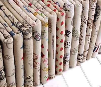 Vintage Printing Pattern Cloth Natural Cotton Linen Fabric Sewing DIY 50X50CM