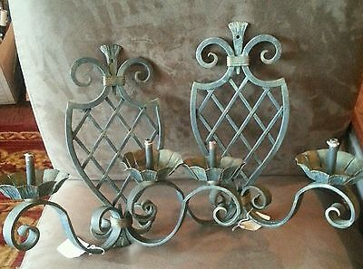 Pair Vintage European Tole Iron Metal Wall Sconces