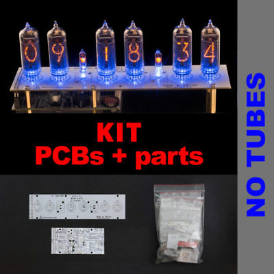 Nixie Tubes Clock IN-14 DIY KIT PCBs+ALL Parts, Divergence Meter Mini, NO TUBES
