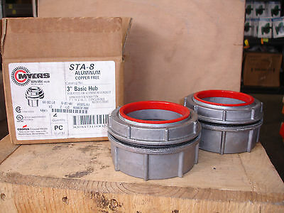 """Cooper / Crouse Hinds *LOT OF 2* STA-8  ALUMINUM 3"""" Myers Basic Hub"""
