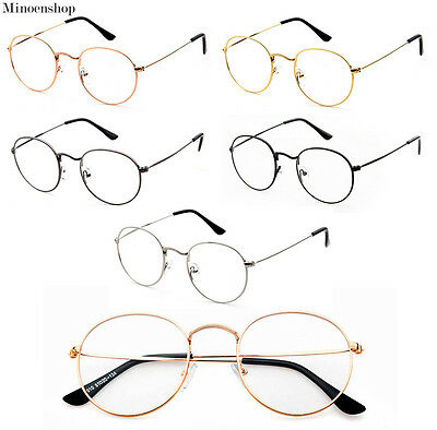 Oval Round Lens Slim Metal frame Clear lens Fashion Glasses Mens Ladies