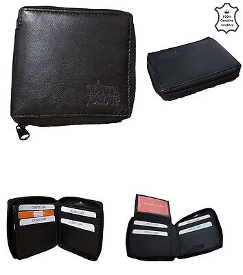 Mens Gents Real Genuine Leather Zip Round Wallet Purse Bifold Credit Card Holder