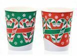 Candy Cane Hot Cup, with Lid, 8-9oz, Pack of 10