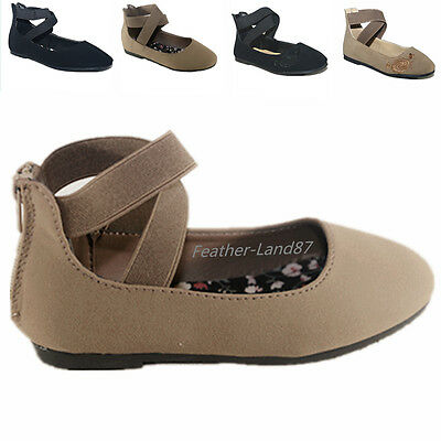 New Kids Girl's Mary Jane Casual Ballet Flats  Back Zipper Ankle Strap Shoes