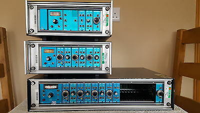 Large Lot Of Fylde Blue Pannelled Modular Instrumentation 22 Modules And Cases