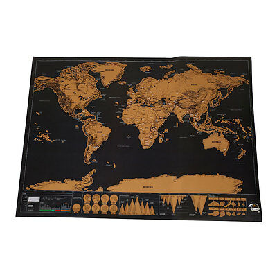 Deluxe Travel Edition Scratch Off World Map Personalized Poster Journal Log