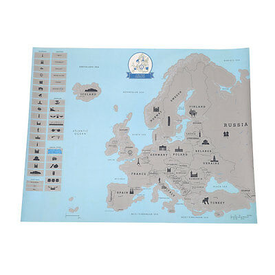 Scratch Personal Travel Europe Style Map Inspirational Fashion Gift Blue