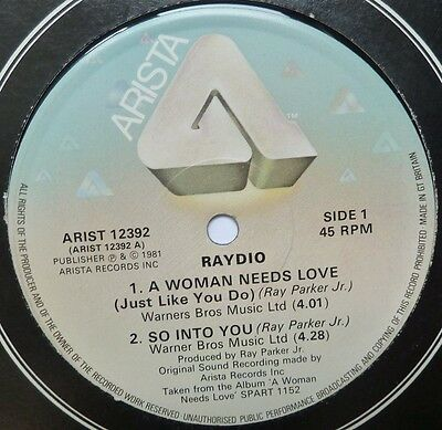 """Raydio - A Woman Needs Love / So Into You - 12"""" Vinyl"""