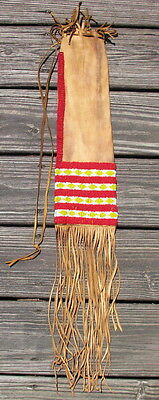 Antique Sioux pipe bag sinew sewn seed beads on hide 5x29in #5690 Plains