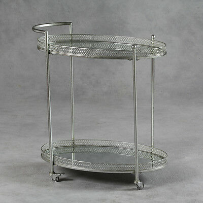 Antique Silver Serving Drinks Metal Trolley with Mirror Shelves 87 x 78 x 47 cm