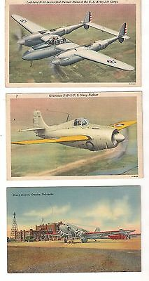 8 Beautiul WWII Era Aviation Related Postcards